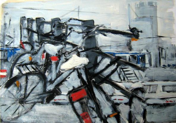 Study Bikes 4 - 2012 - oil on paper - 21 x 29,7 cm