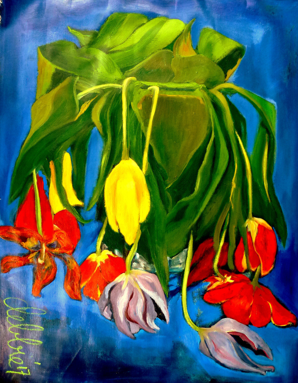 OMG, She Finally Painted Tulips... - 2017 - oil on linen - 105 x 85 cm