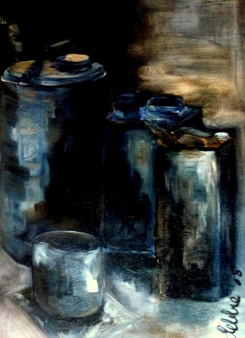 Still Life Tins - 2008 - oil on paper - 54 x 39 cm
