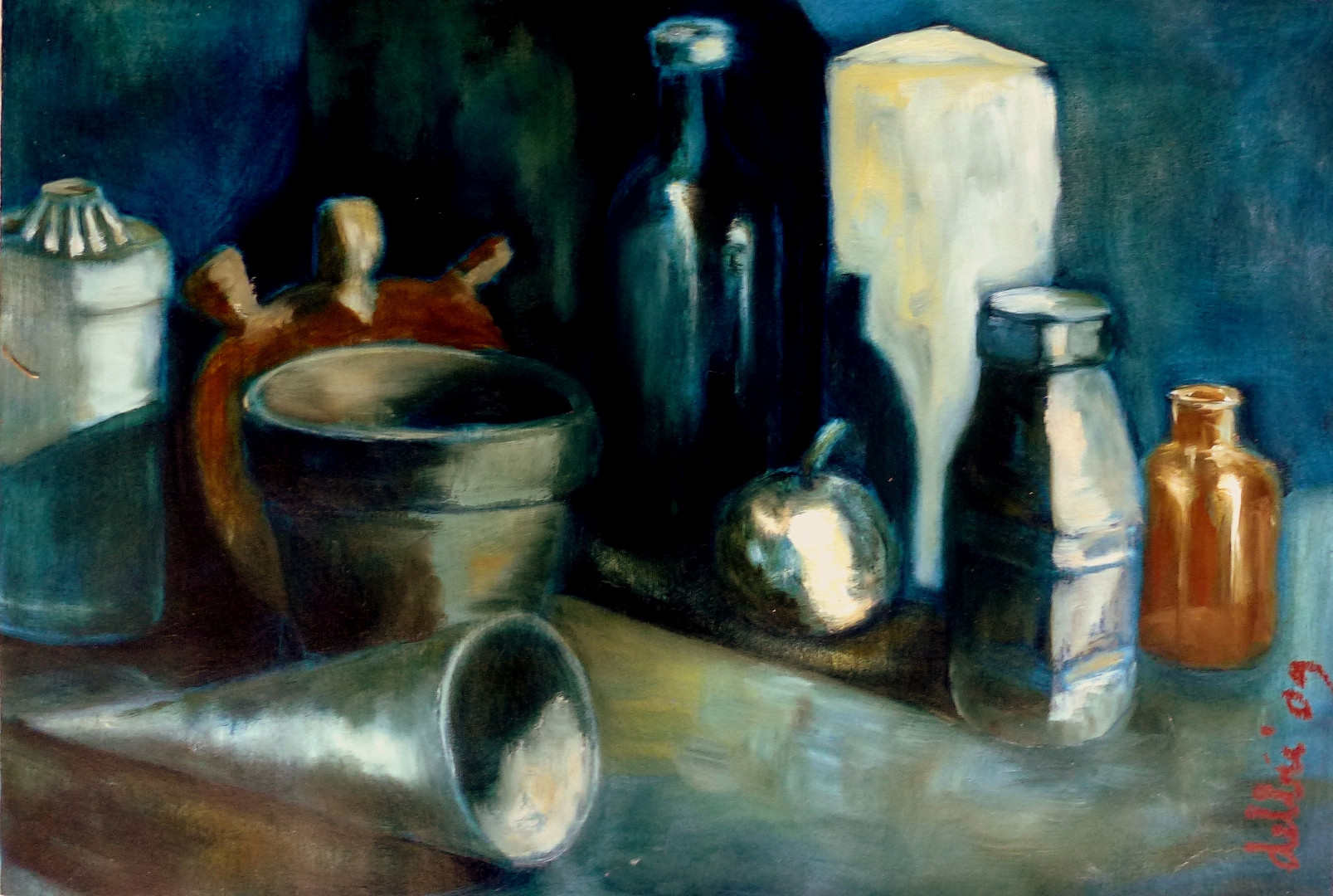 Still Life Pots - 2009 -  oil on paper - 41 x 61 cm