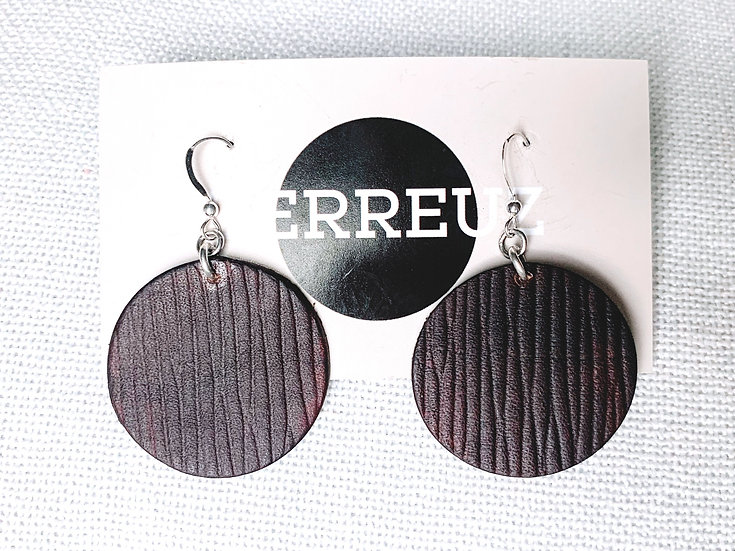 Textured Large leather circle earrings