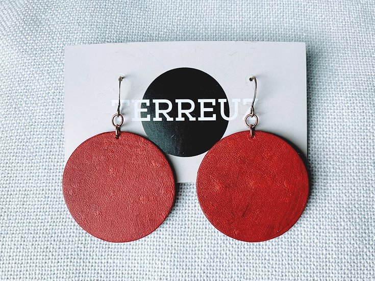 Smooth leather large circle earrings
