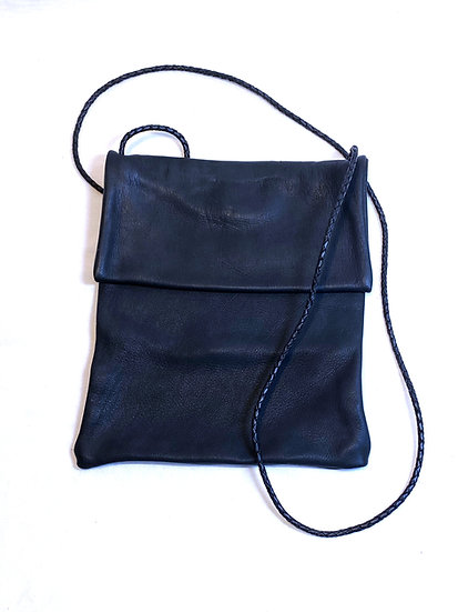 Soft Black Leather Crossbody