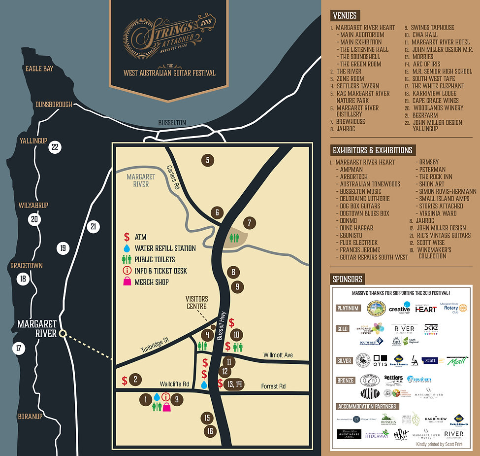 West Australian Guitar Festival Map Margaret River
