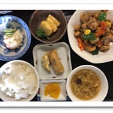 鶏肉黒胡椒定食