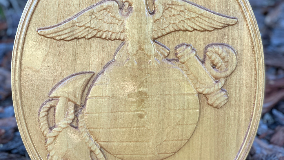 Marine Emblem 3D Carving Wall Plaque