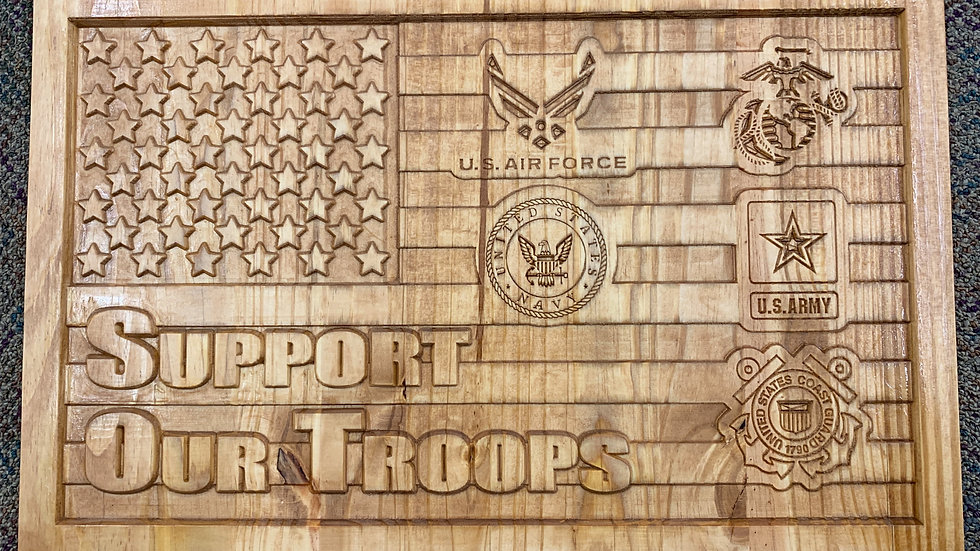 Support Our Troops Carved Plaque