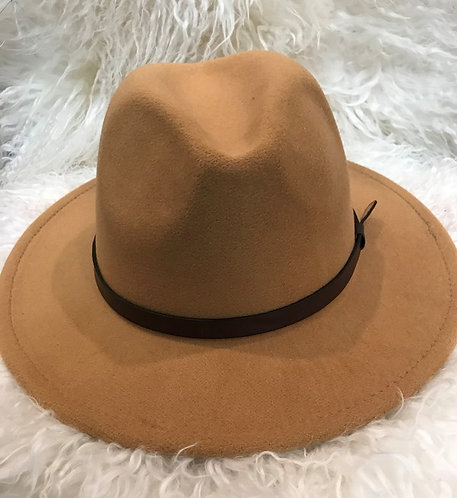 fedora hat with brown strap