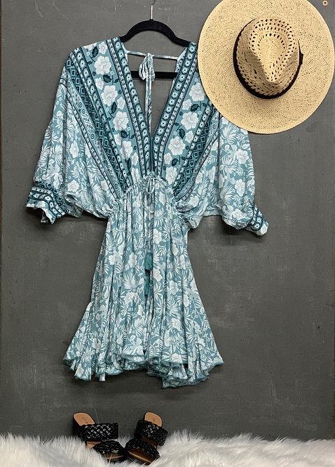 double v dolman border cinch mini dress