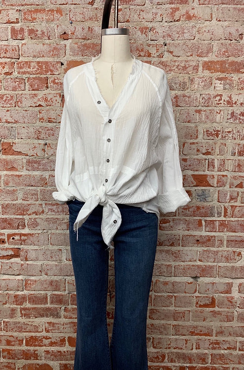 Crinkle button down