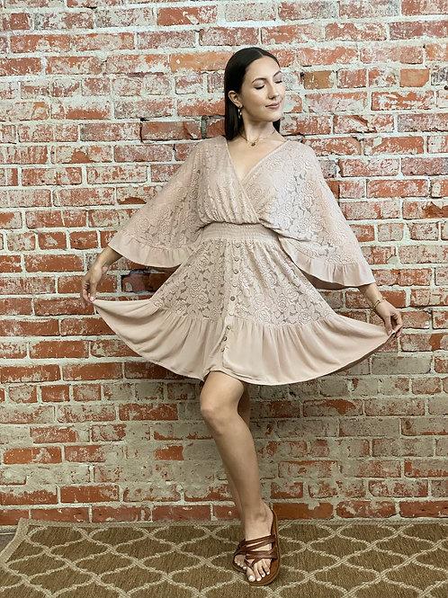 lace rose ruffle mini dress