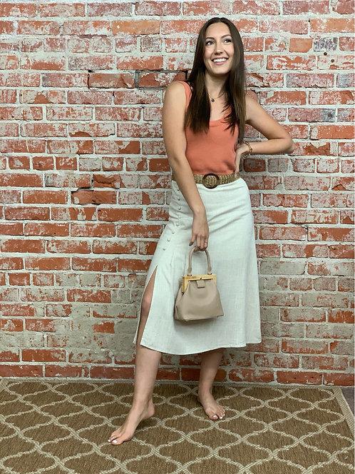 side slit linen skirt