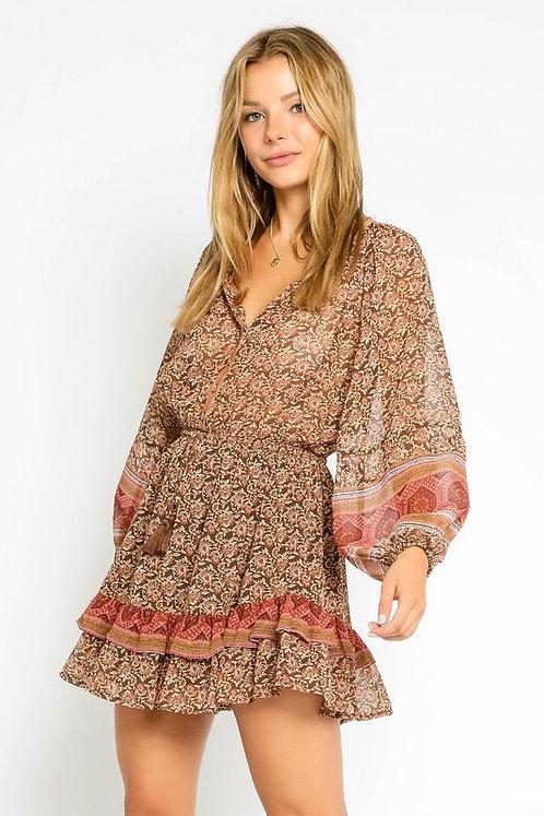 tapestry printed mini dress