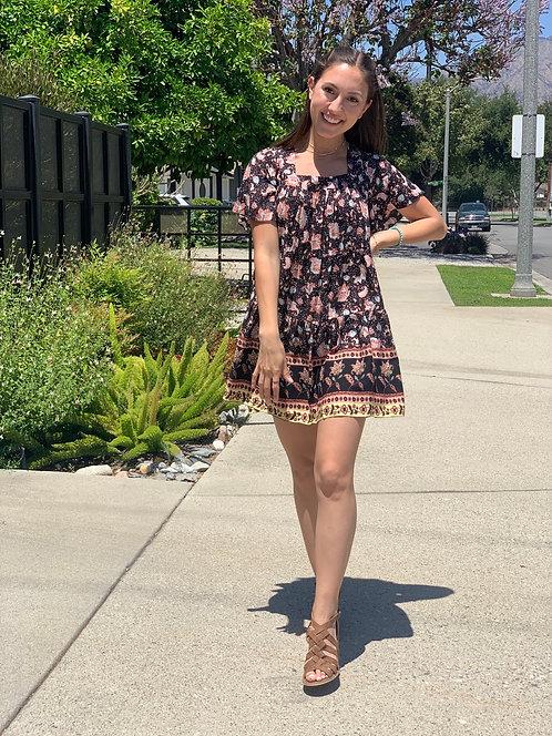 Border print mini dress
