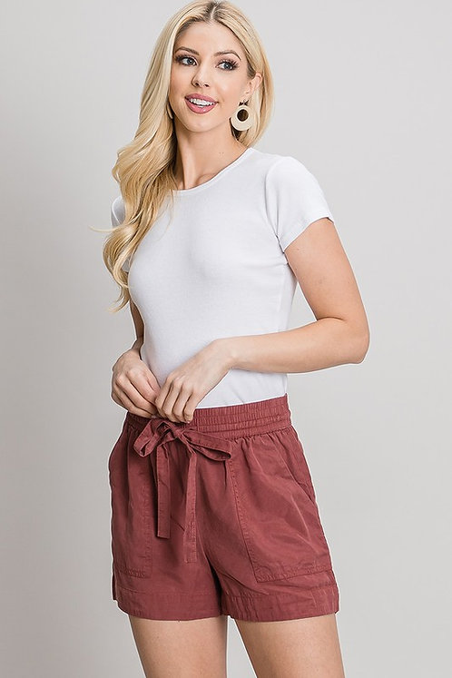 tencel drawstring shorts