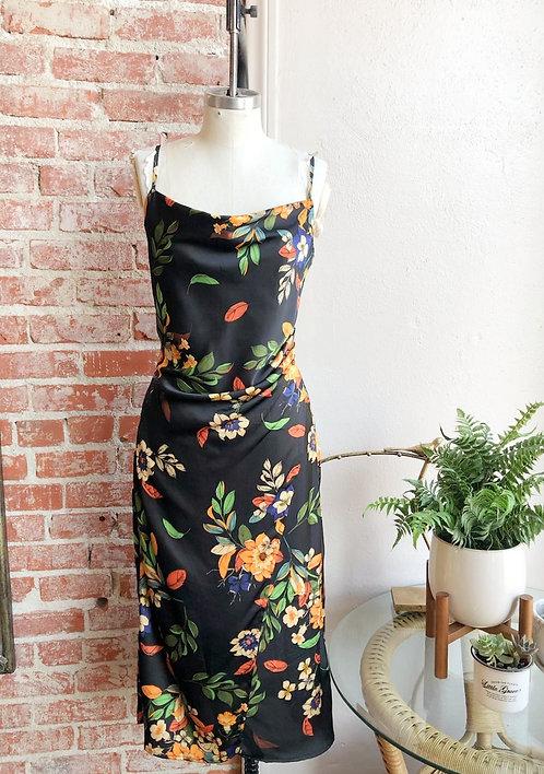 tropical nights floral midi dress