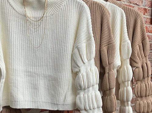 Crop pucker sleeve sweater