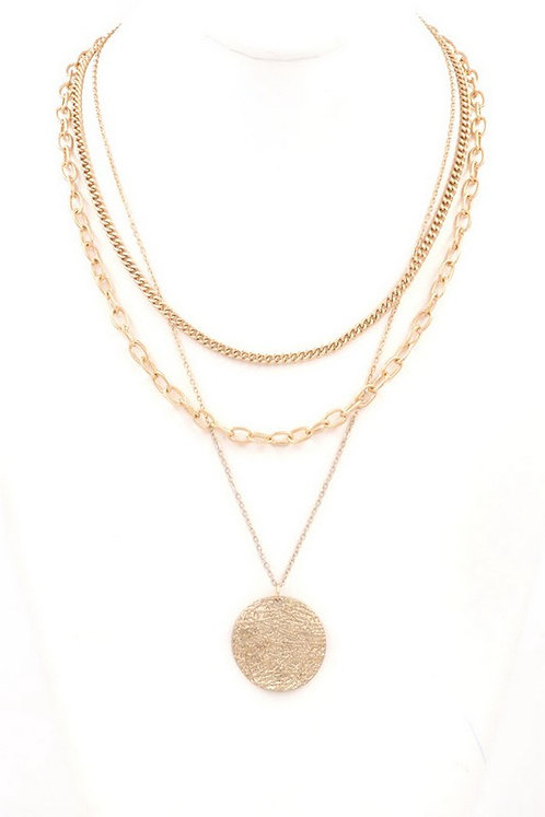 layered chain necklace with gold disc