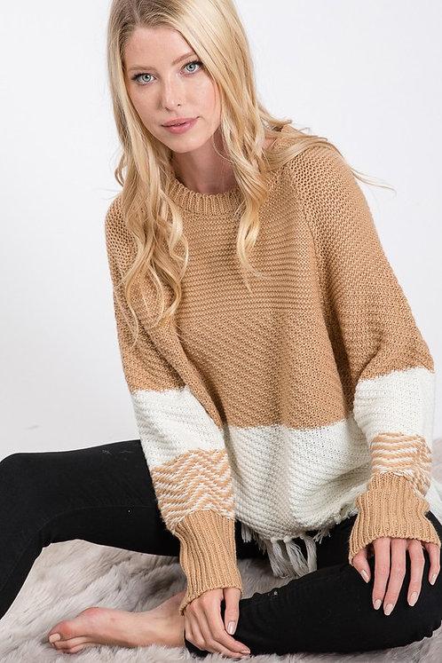 color block fringe sweater