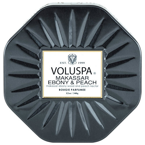 Voluspa Makassar Ebony & Peach 3 wick octagon tin