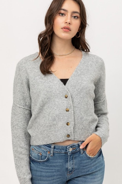crop raw edge cardigan