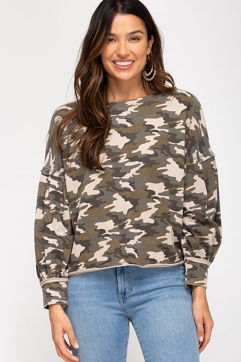 washed camo knit top