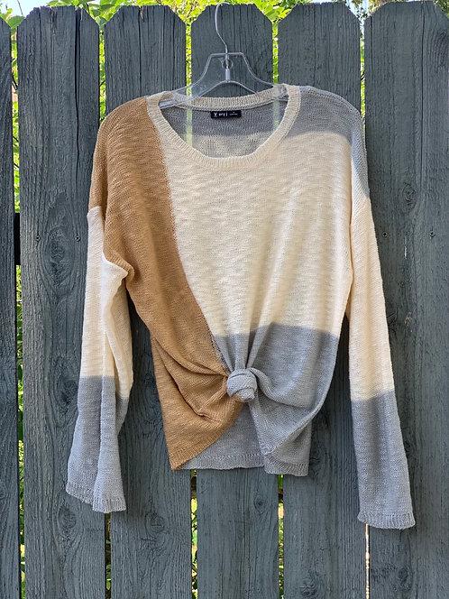 Colorblock slub sweater