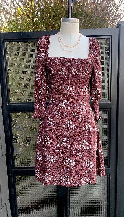 leopard floral mini dress