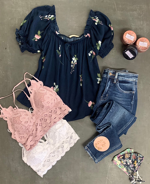 floral ruffle square neck top