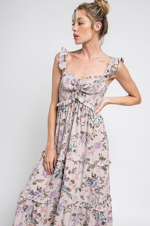 floral cinch smock midi dress