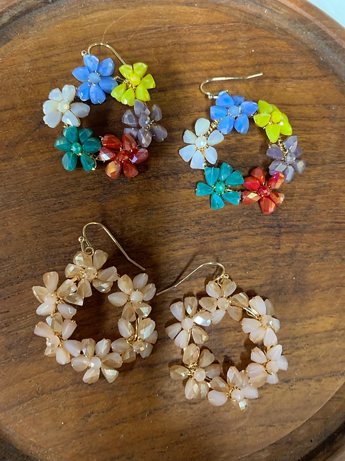 Glass Flower bead earrings
