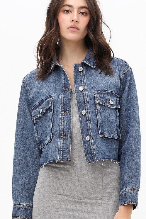 denim crop fray jacket