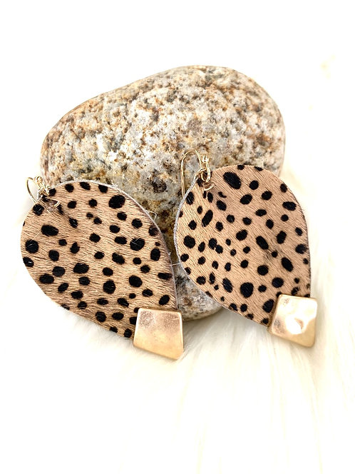 faux cheetah oval earrings