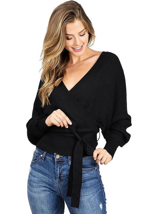ribbed surplice sweater