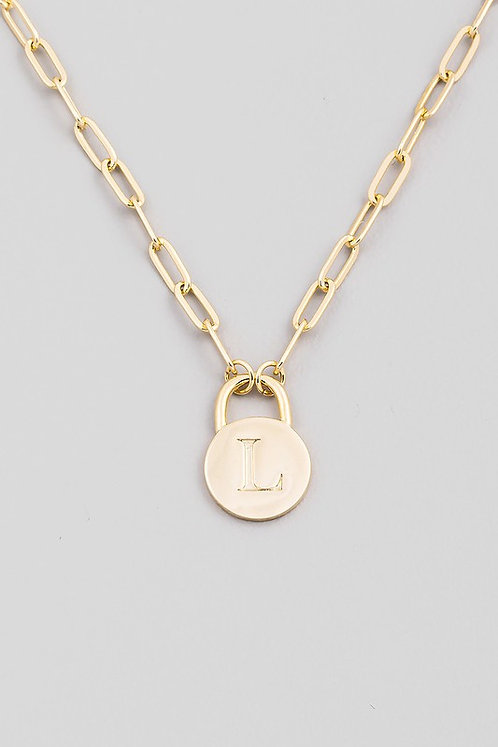 chain link initial necklace   L