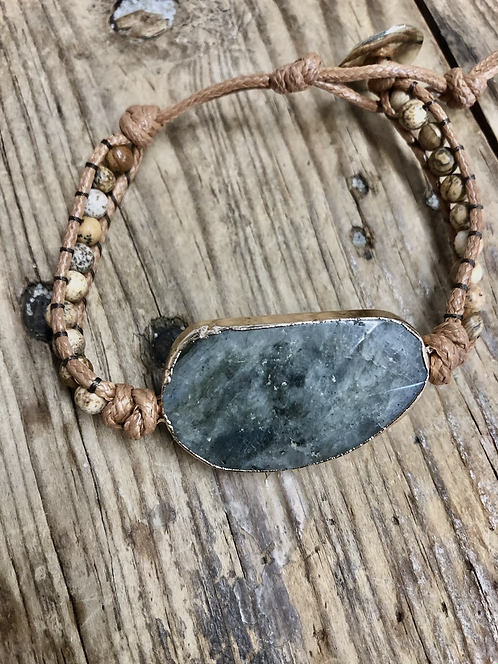 Leather strap stone pendant