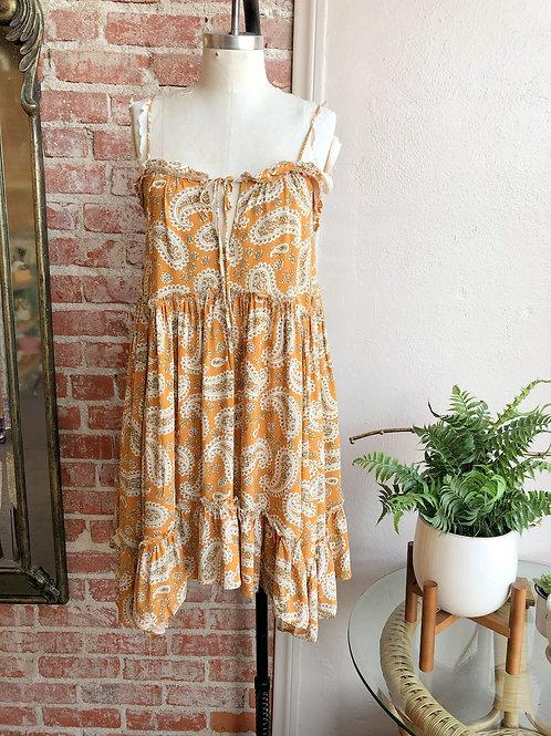 paisley babydoll mini dress