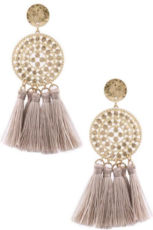 cutout disc tassel earrings