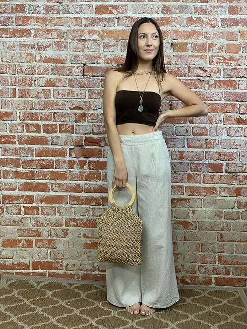 Washed linen wide leg pant