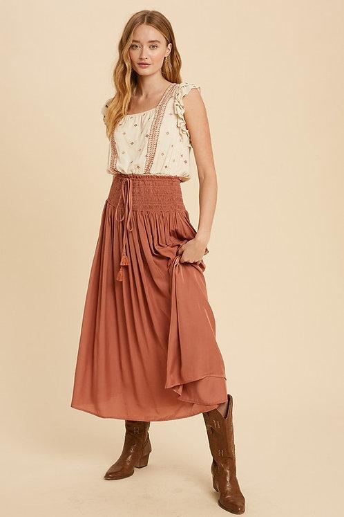 smocked midi/maxi skirt