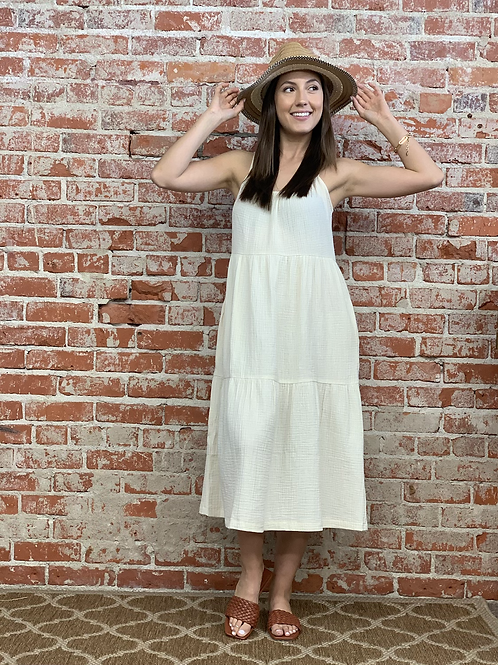 tiered gauze midi dress