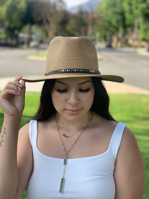 straw fedora with studded band