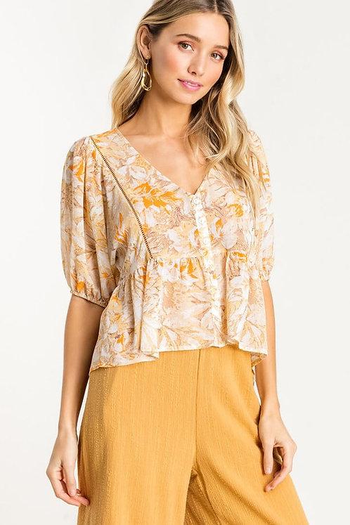 sheer leaf babydoll blouse