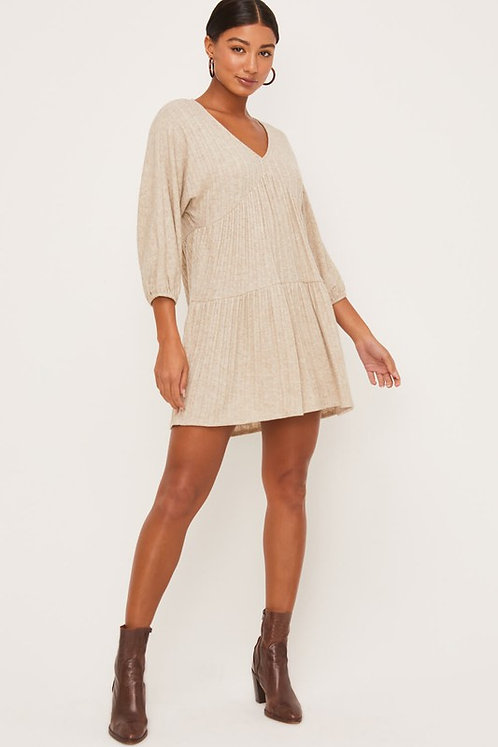 tier knit mini dress