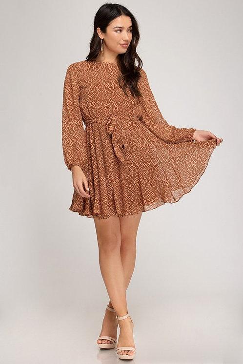 leaf flouncy mini dress