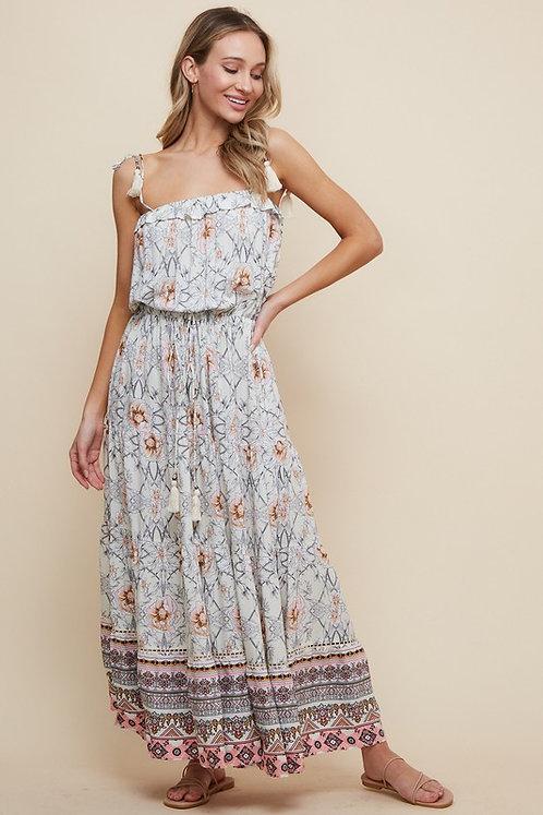 floral geo midi dress