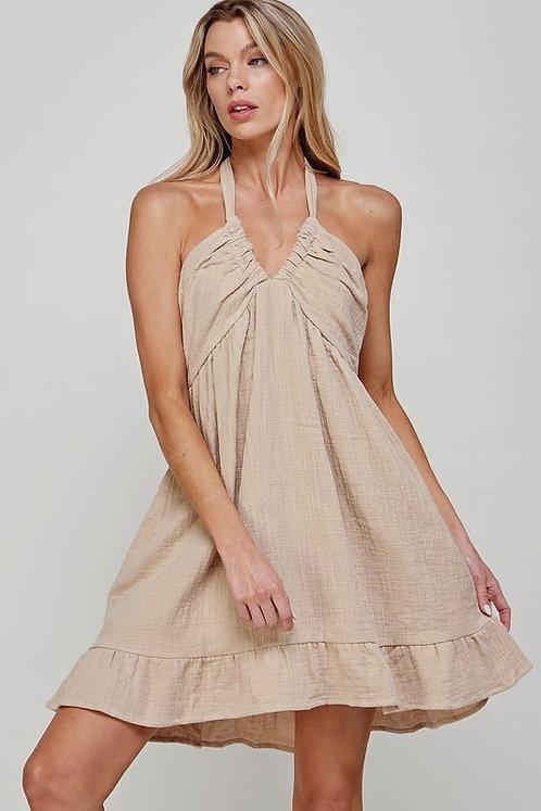 double gauze halter mini dress