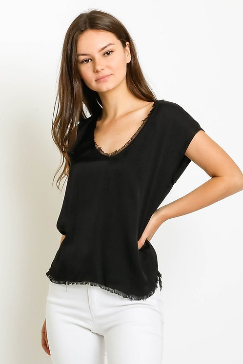 satin fray v-neck top
