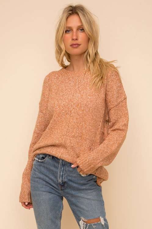 two tone pointelle sweater