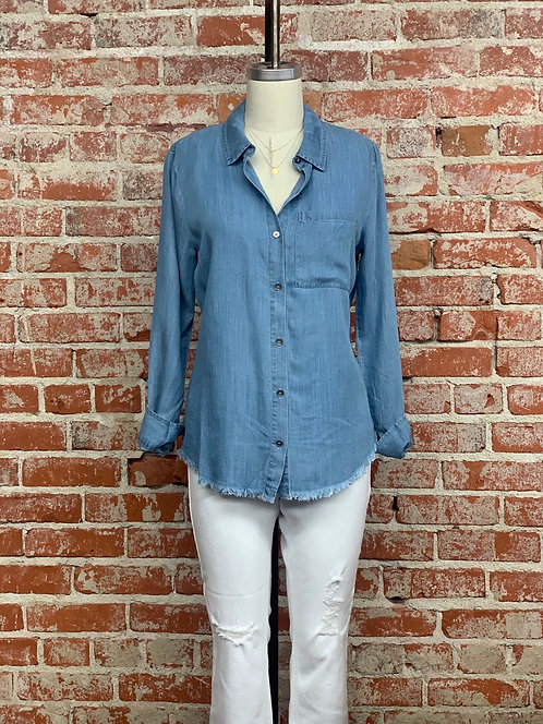 chambray fray button down shirt